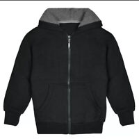 Kids black Sherpa Lined Fleece Zip Up Hoodie Sweater Jacket size S,M,L,XL NEW!