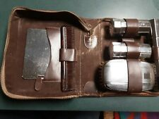 Vtg. Men's Travel Toiletry Set Brown Solid Hide Leather Zip Case Made in England