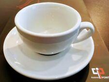 4x Caffé Latte Nuova Point Palermo, dickwandig Feldspat, mit Untertasse weiß