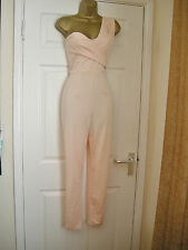 8 ASOS NUDE ONE SHOULDER JUMPSUIT RUCHED SLIM LEG CATSUIT WEDDING PARTY SUMMER