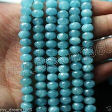 "5x8mm Faceted Blue Brazilian Aquamarine Gems Loose Beads 15"" AAA"