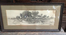 Nice Vintage Framed Drawing or Etching - Boat at the River's Edge Scene