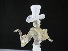 Vintage Murano Circa 1950's Latticino Glass Courtesan Figurine Gold Inclusions