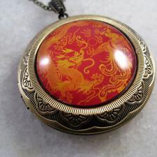 Chinese Dragon Phoenix Vintage Brass Picture Locket Pendant Necklace