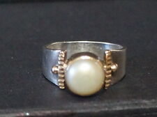 Sterling Silver 925, 14K Yellow Gold & Mabe Pearl Ring, Size 7 Sillpada