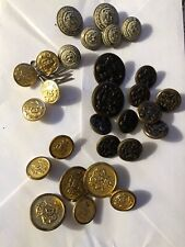Lot of 28 Vintage Brass Buttons Includes Military, And Misc