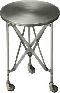 ACCENT TABLE INDUSTRIAL CHIC PLATINUM DISTRESSED IRON