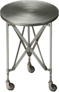 ACCENT TABLE INDUSTRIAL CHIC PLATINUM DISTRESSED IRON BRONZE