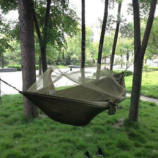 Travel Outdoor Camping Hammock Hanging Tent Sleeping Bed w/ Sack Army Green