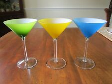 SET 3 HOME ESSENTIALS MULTI-COLOR MARTINI GLASSES- GREEN YELLOW BLUE W/WHITE 7""