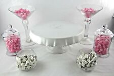 7 Set Candy Lolly Buffet White Cermanic Cake Stand + 6 Glass Jars Tongs Scoops