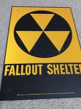 """FATHERS DAY SALE VINTAGE 1960's FALLOUT SHELTER SIGN GALVSTEEL 10""""x14"""" AGE SPOTS"""