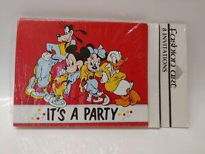 Vintage Walt Disney Party Invitations Mickey Minnie Mouse Goofy Donald Duck NEW!
