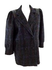 NEW YORK GIRL WOMENS SIZE 14 BLACK & PURPLE WOOL DOUBLE BREASTED COAT