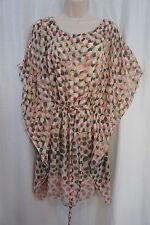 Studio M Dress Sz S Beige Multi Shadow Dots Sheer Chiffon Over Slip Party Dress