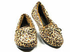 New Womens Leopard Bow Soft Fur Lined Suede Like Slip on Moccasin Shoes Sz 5-10