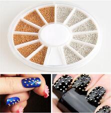 Bulk 1200pcs Gold Silver Nail Art 3D Design Decoration Sticker Metallic Studs LS