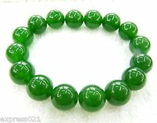 8mm W Rich Imperial Chinese Perfect Green Jade/Jadeite Smooth Beads Bracelet