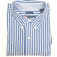 CHAPS Size Large L Mens Button Down Long Sleeve Blue Striped Dress Casual Shirt