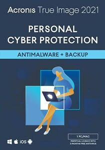 Acronis True Image 2021 PC/Mac Perpetual Licence Personal Data Cyber Protection