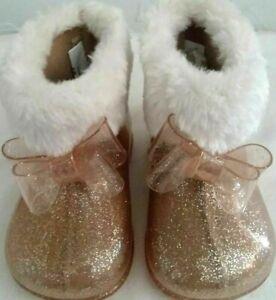 "GARANIMALS-BABY/TODDLER Size ""3"" Gold Premium-Flux Fur Lined Bootie-Soft Comfy"