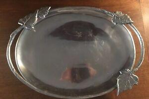 "Martha Stewart Large 17""x12""Park Leaves Collection Oval Metal Serving Platter"