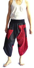 Thai fisherman pants Yoga Harem pants Samurai aladin black red cotton, Free size
