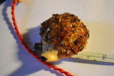 Baltic Natural Amber Miniature Hedgehog on Wood ,magnets