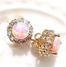 2 Ct Round Pink Fire Australian Opal Earrings 14K Yellow Gold