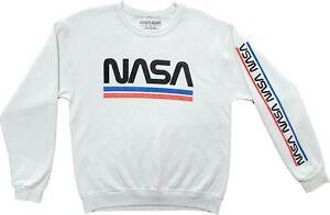 Men's Nasa Space Shuttle Logo Fleece Crewneck White Pullover Sweater Sweat Shirt