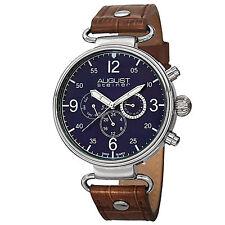 New Men's August Steiner AS8131BU Swiss Quartz Day/Date Brown Leather Watch