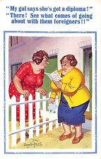 POSTCARD   COMIC   DONALD  McGILL  Housewives   Diploma  Foreigners