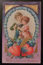 Children Bow/Arrow Heart For Get Me Not-Antique Artistic 1909 Valentine Postcard