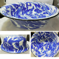 "NEW Enamelware Splatter Ware Cobalt Blue Large Basin Bowl 12 1/2"" W x 4"" H"