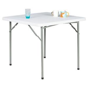 HARTLEYS 3FT SQUARE WHITE FOLDING TABLE FOR PICNIC/KITCHEN/CAMPING/DINNER/GARDEN