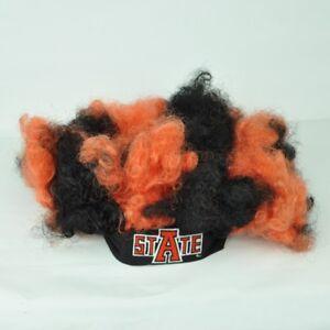 NCAA Arkansas State Boucle Cheveux Perruque Vintage Noir Afro Serre Tête Orange
