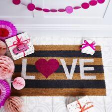 Bombay Duck Love Striped Door Mat - White Red Pink Black Natural - Coir Doormat