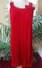 Signature by Robbie Bee 6 Red Accordian Pleated Party Formal Dress Satin Accents