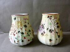 ancienne paire de vases en porcelaine émaillée, fleurs, feuillage