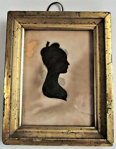 Antique 19th SILHOUETTE Hollow Cut WOMAN Girl PORTRAIT MINIATURE Gold Frame 1830