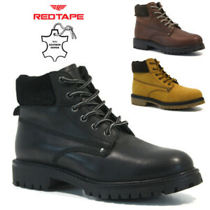 MENS NEW RED TAPE LEATHER BOOTS WALKING HIKING TRAIL WORK ANKLE ARMY SHOES SIZE