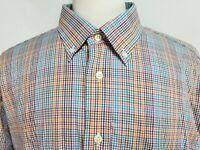 Gitman Bros Mens sz 2XL Blue Pink Brown Striped Long Sleeve Button Front Shirt