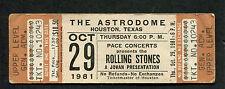 Original 1981 Rolling Stones Tattoo You Unused Full Concert Ticket Houston TX