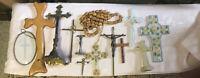 12 Vtg Lot Religious Christian Catholic Crucifix~Crosses Wood Brass Plastic