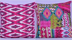 Indian Handmade Cotton Ikat Pillow Case Ethnic Kantha Sofa Cover Home Decor Art