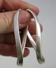 Estate Vintage Unique Sterling Silver 2.4 Inch Long Twist Ridge Dangle Earrings