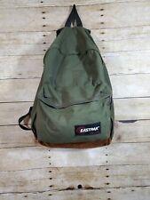 Vintage 90s Eastpak Backpack Green Leather Bottom Made In USA Bookbag