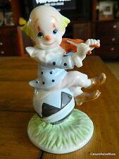 Vintage 1986 Lefton Sevilla Violin Playing Clown Figurine on Ball Free Ship