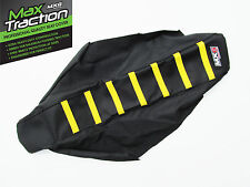 SUZUKI RMZ250 10-17 RIBBED GRIPPER SEAT COVER BLACK WITH YELLOW STRIPES RIBS
