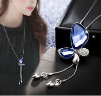 Damen Halskette Mode Schmuck Collier mit Anhänger Silber Kette Schmetterling
